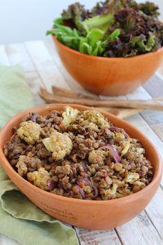 Couve-flor assada com lentilha e especiarias