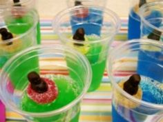 Jelly Pools Recipe - Party food or send-to-school-instead-of-cupcakes idea! Select lollies on top that are safe or omit lollies & just go jelly3 :o)