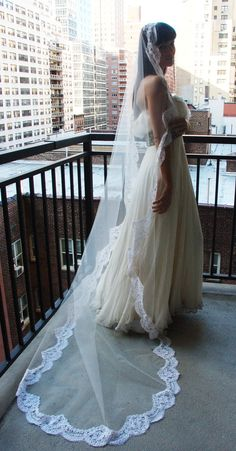Wedding Veil - Cathedral Mantilla with French Bridal Alencon Lace - made to order. $310.00, via Etsy.