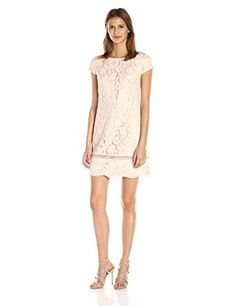 Vince Camuto Women's Lace Shift Dress, Blush, 12