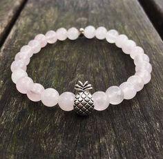 Pineapple bracelet, summer bracelet, rose quartz beads, gift for her, charm bracelet by MadeByMelBracelets on Etsy https://www.etsy.com/listing/510745042/pineapple-bracelet-summer-bracelet-rose