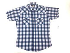 Vintage Ely Cattleman Pearl Snap SS Shirt Plaid Western Large Light Flannel #ElyCattleman #ButtonFront #western #vintage