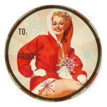 The Kitsch Bitsch : Holiday Gift Tag Classic Round Sticker