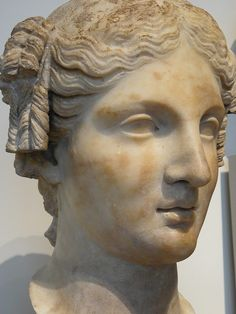 Marble head of a Roman woman Imperial period 1st century CE copy of a Hellenistic statue of the 3rd or 2nd century BCE (1)