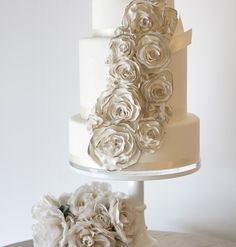 Elegant Mix of Ruffles & Pearls Wedding Cake