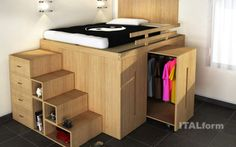 Pull out closet below bed.