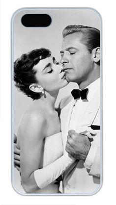 Audrey Hepburn iPhone 5 5S Case, Unique Designer Audrey Hepburn Case Covers For Apple iPhone 5 5S PC Material White
