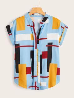 V-neck Patchwork Curved Hem Blouse Mens Printed Shirts, Textile Pattern Design, Blouses For Women, T Shirts For Women, African Clothing For Men, Summer Shirts, Casual Shirts For Men, Cool Shirts, Shirt Blouses