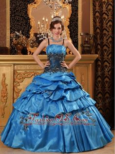 Quinceanera Dresses online shop offers Blue Ball Gown Straps Floor length Taffeta Appliques Quinceanera Dress features spaghetti straps neckline Ball Gowns in blue color,floor length taffeta dress with lace up back and train for sweet 16 quinceanera . Turquoise Quinceanera Dresses, Glitz Pageant Dresses, Cheap Quinceanera Dresses, Cheap Prom Dresses, Dresses 2013, Quinceanera Party, Popular Dresses, Dresses Online, Wedding Dresses