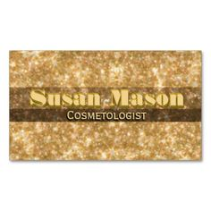 Golden Glitter Glamour Business Card. Stand out from the rest of the competition with the beautiful glitter look business card. The card contains no glitter, it's just the artwork than makes it look glittery. Put some sparkle in your life.
