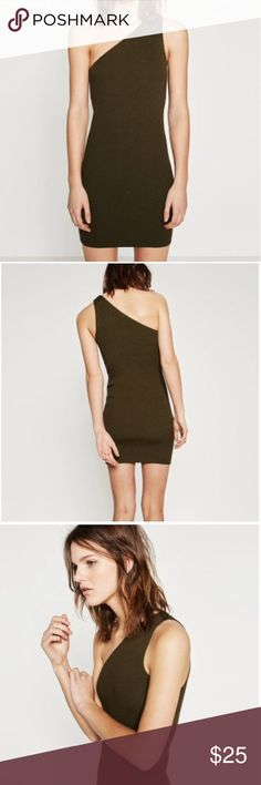 Zara Knit Dress Olive green Zara Knit One shoulder tight dress just beautiful 😍 Zara Dresses One Shoulder