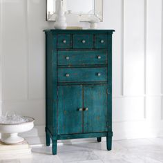 Our space-saving Chloe Tall Chest goes where other furniture won't. We made it just the right size to bring new life to nooks, corners, and other small spaces. Paint Furniture, Furniture Projects, Furniture Makeover, Home Furniture, Teal Painted Furniture, Refinished Furniture, Furniture Market, Furniture Outlet, Furniture Design