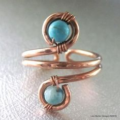 Adjustable Copper Turquoise Wire Wrap Finger Toe Ring LBD1151 - Lexi Butler Designs