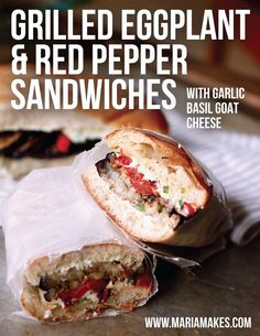SO simple. SO delicious. Toasted hoagie rolls layered with grilled eggplant and grilled red peppers, all pulled together with a tangy, garlicky, basil-y goat cheese spread. Goat Cheese Sandwiches, Goat Cheese Recipes, Italian Sandwiches, Eggplant Sandwich, Grilled Eggplant, Eggplant Dishes, Eggplant Recipes, Healthy Sweet Snacks, Healthy Dishes