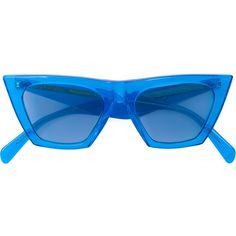 Céline Eyewear cat-eye acetate sunglasses ($440) ❤ liked on Polyvore featuring accessories, eyewear, sunglasses, blue, celine sunglasses, blue cat eye sunglasses, cateye sunglasses, cat eye sunglasses and cat eye sunnies