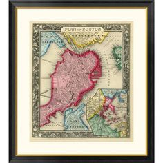 """Global Gallery 'Plan of Boston, 1860' by Samuel Augustus Mitchell Framed Graphic Art Size: 32"""" H x 29"""" W x 1.5"""" D"""