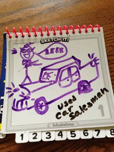 Used car salesman- (hint) see broken glass and flat tire- Car Salesman, You Draw, Sculptural Fashion, Cute Drawings, Party Games, Used Cars, 3d Printing, Sculpture, Books