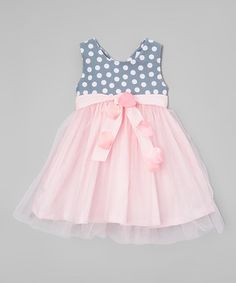 Look at this #zulilyfind! Pink & Gray Polka Dot Tulle Dress - Infant, Toddler & Girls #zulilyfinds