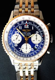Breitling Chronometre Navitimer 18K Yellow Gold and Stainless Steel two tone Blue Dial Men's Watch