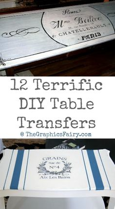 12 Terrific DIY Table Transfers. Painted Furniture projects.