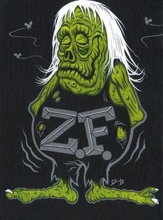 """Zombie Fink"" - Dave Burke Horror Comics, Horror Art, Cartoon Charecters, Ed Roth Art, Goat Art, Pet Sematary, Zombie Art, Rat Fink, Retro Logos"