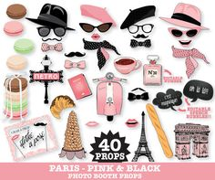 Paris Photo Booth Props - Pink & Black Paris Party Photo Props - French Props, Parisian Props, Travel Props - Printable DIY PDF - 40 Photo Booth Props.   This kit has the cutest little vespa, hats plus... an EDITABLE perfume bottle for an AGE#, ANNIVERSARY#, or favorite perfume#... along with 2 EDITABLE speech bubbles... $6.99