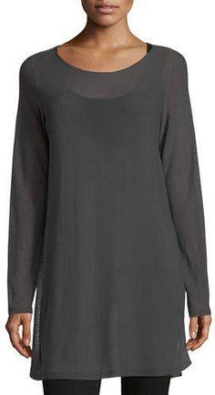 Eileen Fisher Long-Sleeve Seamless Knit Ballet-Neck Tunic 70s Women Fashion, Iranian Women Fashion, Over 50 Womens Fashion, Fashion Over 50, Mom Fashion, Winter Fashion, Eileen Fisher, Capsule Wardrobe Mom, Casual Outfits