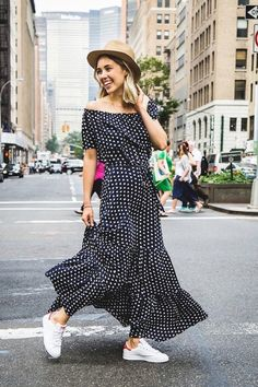 le-fashion-blog-sporty-street-style-neutral-hat-printed-off-the-shoulder-maxi-dress-white-sneakers-via-popsugar