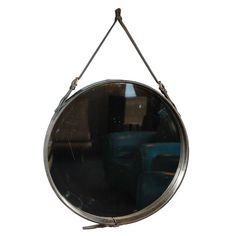 Large 1950's Leather Mirror By: Jacques Adnet.