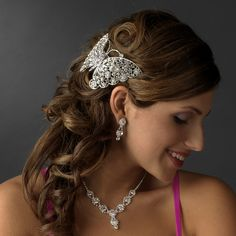 Crystal Butterfly Barrette Headpiece for Quinceanera, Mis Quince Anos