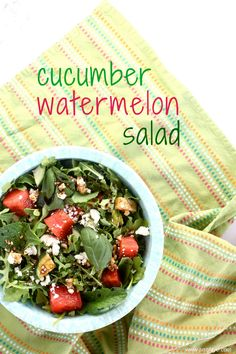 cucumber watermelon salad is delicious, refreshing, and will have you screaming for salad all summer long! | www.justjfaye.com #recipe #salad #healthy