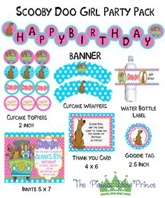 Scooby Doo Girl Printable Party Pack DIY by ThePolkaDotPrince, $25.00