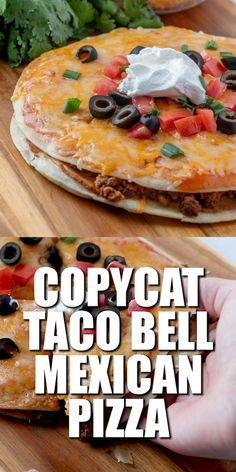 Mexican Pizza is a copycat of the Taco Bell classic. Fried tortillas refried beans seasoned ground beef enchilada sauce and gooey melted cheese! Enchilada Sauce, Taco Bell Sauce, Sauce Pizza, Pizza Pizza, Pizza Quesadilla, Chicken Quesadillas, Taco Bell Steak Quesadilla Recipe, Taco Bell Meat Recipe Copycat, Taco Bell Burrito Recipe