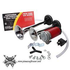 25,54€ - ENVÍO GRATIS - Kit de Bocina de Aire/Neumática 24V para Camión Coche Moto con Compresor Pequeño Bocinas Cromadas
