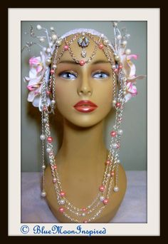 Headpiece, Headdress, White and Pink Orchids, Fairy headress, Tribal Bellydance, Fairy Headdress, Fairy headpiece