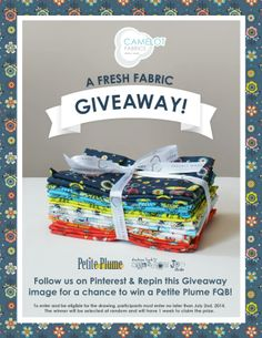 ☀ CAMELOT FABRICS PINTEREST GIVEAWAY | RE-PIN THIS IMAGE for a chance to win our Petite Plume FQ Bundle | Winsday ☀