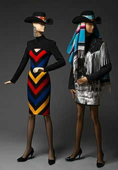 "Patrick Kelly's final collection for Fall/Winter 1989–90 celebrated his two loves—America and Paris. In the fashion show, Kelly paired several Native-American-inspired dresses with feather headdresses his business and life partner, Bjorn Amelan, had bought back to Paris after a visit to the American west. See them in ""Patrick Kelly: Runway of Love"" through December 7. #FashionFriday  Woman's Dress; Woman's Suit: Jacket and Skirt; Fall/Winter 1989–90; designed by Patrick Kelly"