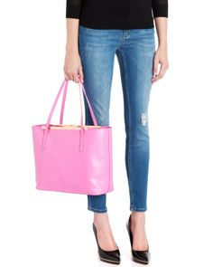 Leather crosshatch shopper - Mid Pink | Bags | Ted Baker