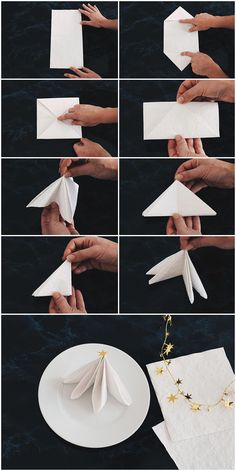 Best DIY Napkin Folding Tutorial Ideas, DIY folding ideas napkin Best DIY Napkin Folding Tutorial Ideas, DIY folding ideas napkin Tutorial, Over 70 napkin folding tutorials and ideas for an Christmas Napkin Folding, Christmas Napkins, Christmas Crafts, Christmas Decorations, Diy Xmas, Noel Christmas, Diy Crafts To Do, Paper Crafts, Deco Table Noel