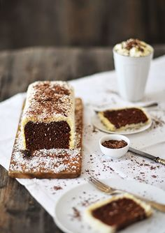 chocolate rum cake with coconut.
