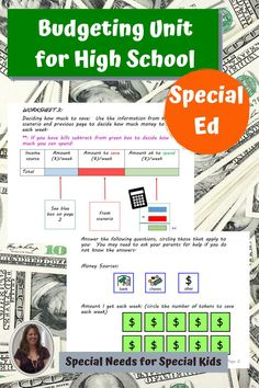 Budgeting Unit for Special Education, especially autism. This unit is meant to help students in a life skills high school setting understand what it means to make and follow a budget. There are 2 versions included to target those students who are early readers and those who are non-readers. Materials for making a budget to evaluating the results. #specialneedsforspecialkids #SPED #specialed #SpecialEducation #lessonplans #math #budgeting #money #highschool 6th Grade Special Education, Special Education Activities, Special Education Classroom, Autism Classroom, Classroom Activities, Education Logo Design, School Sets, Making A Budget, Special Kids