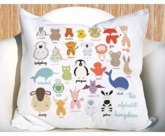 Alphabet Animal Kingdom Pillowcase. So adorable for a nursery!!!