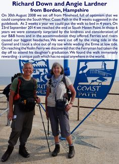 Richard Down and Angie Lardner from Bordon, Hampshire - South West Coast Path Completers South West Coast Path, Guide Book, Hampshire, Walks, Hampshire Pig