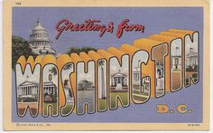 Greetings from Washington DC large letter postcard