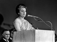 Michael Evans/The New York Times Prime Minister Indira Gandhi speaking at Columbia University in New York, on Nov. 6, 1971.