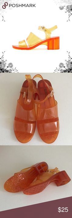 NWOT Classic Jelly Heel Chunky jelly sandal with two front panels and an adjustable ankle strap. 100% PVC construction. Purchased directly from the manufacturer. New in bag. Made in USA. Bundle for discounts! Thank you for shopping my closet! American Apparel Shoes Sandals