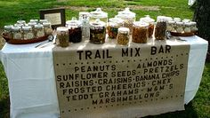 Camping party with a trail mix bar! Trail mix bar would be great for the parents at Primary I and II at Camp McDowell! Planning Menu, Party Planning, Wedding Planning, Teddy Grahams, Trail Mix Buffet, Party Ideas For Teen Girls, Baby Ideas, Bar A Bonbon, Going Away Parties