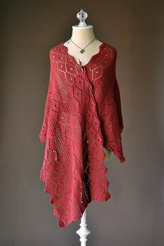 """Poppy Stole Pattern FINISHED MEASUREMENTS  20"""" wide x 60"""" long  Fibra Natura Cotton True Sport (100% Pima cotton; 50g/197 yds)  •101 Port Red – 5 balls  US Size 4 (3.5 mm) straight or size needed to obtain gauge  22 sts x 28 rows = 4"""" in patt  Save time, check your gauge"""