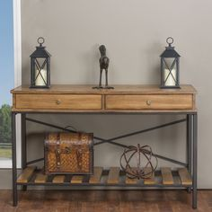 Baxton Studio Newcastle Industrial Rustic Wood and Metal Vintage Look Criss-cross Console Table   Overstock.com Shopping - The Best Deals on Coffee, Sofa & End Tables