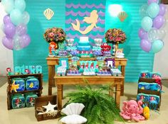 Aniversário da Helena Mermaid Theme Birthday, Little Mermaid Birthday, Little Mermaid Parties, 6th Birthday Parties, Birthday Party Decorations, 2nd Birthday, Ocean Party, Mermaid Baby Showers, First Birthdays